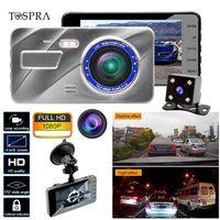 TOSPRA Dash Cam Dual Lens Car DVR Camera Full HD 1080P 4 IPS Front+Rear Blue Mirror Night Vision Video Recorder Parking Monitor