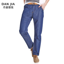 2016 autumn and winter new men's business thick jeans small straight trousers in the high waist thick section