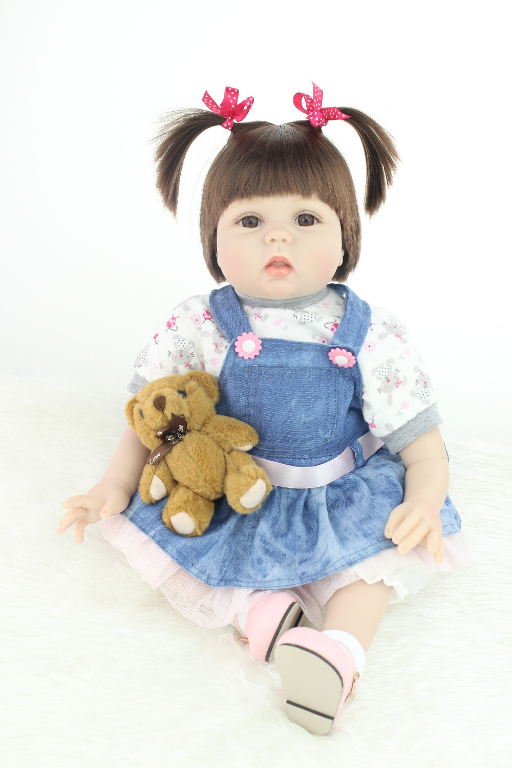 2015 NEW hot sale lifelike reborn baby doll rooted human hair 22mm brown eyes fashion doll Christmas gift old gift