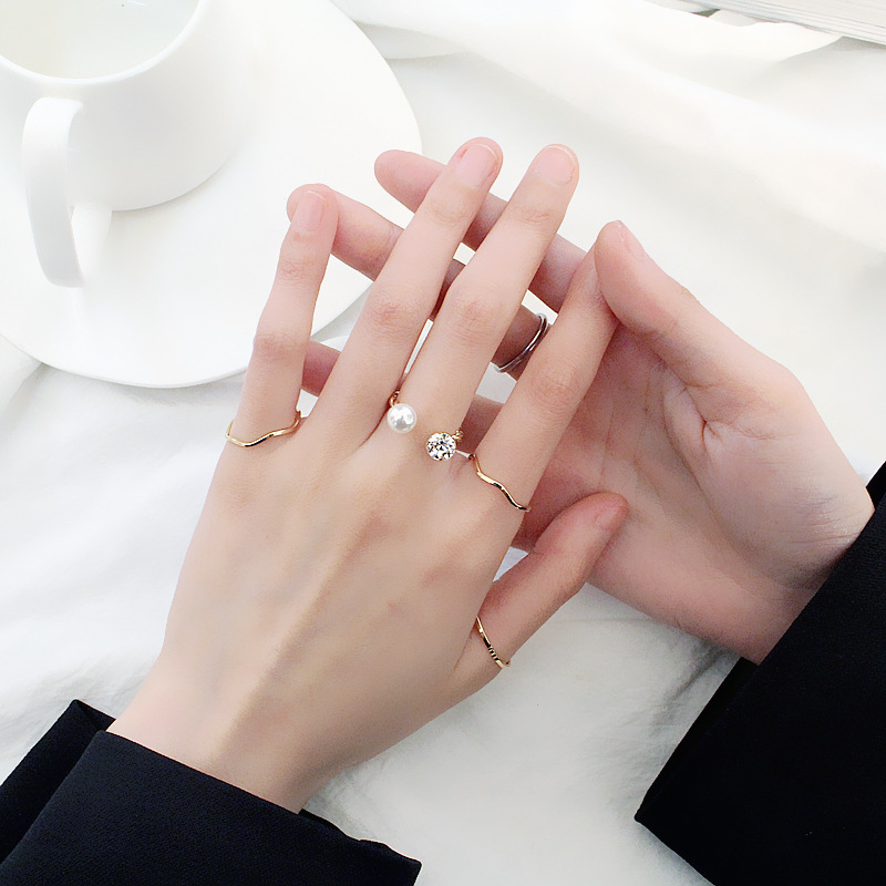 Simple Zircon Zinc Alloy Ring Setting for Pearl Geometric Gold Adjustable Wedding Rings Women Jewelry Anillos Mujer