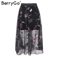 BerryGo רקמת mesh הקיץ ארוך 2018 אביב streetwear נשים מותניים גבוהים שקופה חצאית שחורה חצאית מקסי חצאית נקבה