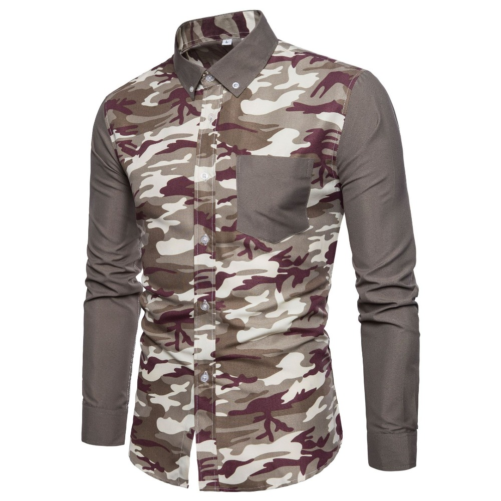 4e0f5f1f 2019 Camouflage Shirt Mens Casual Full Sleeve Plus Size Men Clothes Slim  Fit Men Men's Social Shirts Classic Male Camisa Blouse