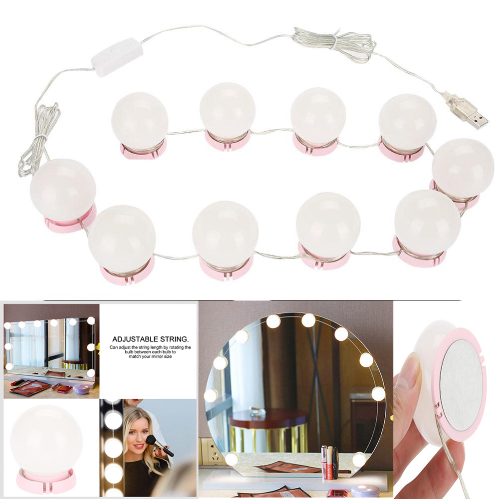 Makeup Mirror Vanity LED Light Bulbs Kit USB Charging Port Cosmetic Lighted Make Up Mirrors Bulb Adjustable Brightness Lights(China)