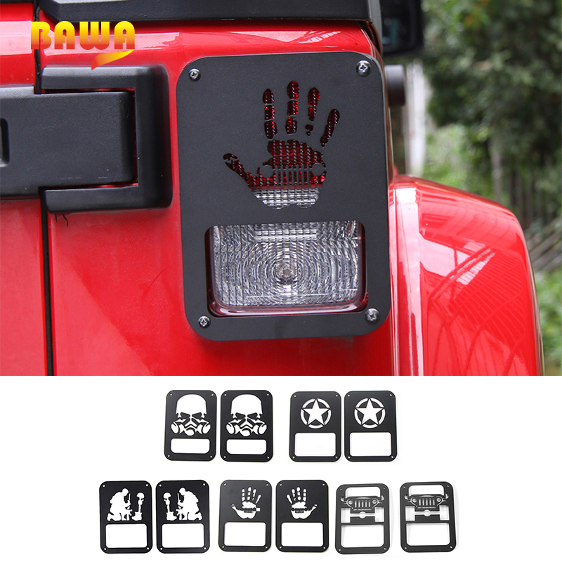 BAWA Rear Tail Light Lamp Cover Lamp Hoods for Jeep Wrangler JK 2007-2017 Aluminum alloy Car Accessories Head light Ring Frame