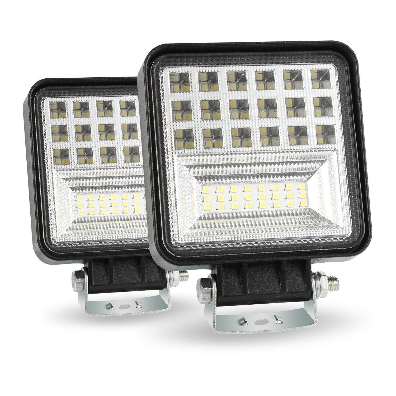 "2pcs 8/"" Yellow LED Work Light Bar Spot Flood Driving Fog Lamp Offroad 6000K ##"