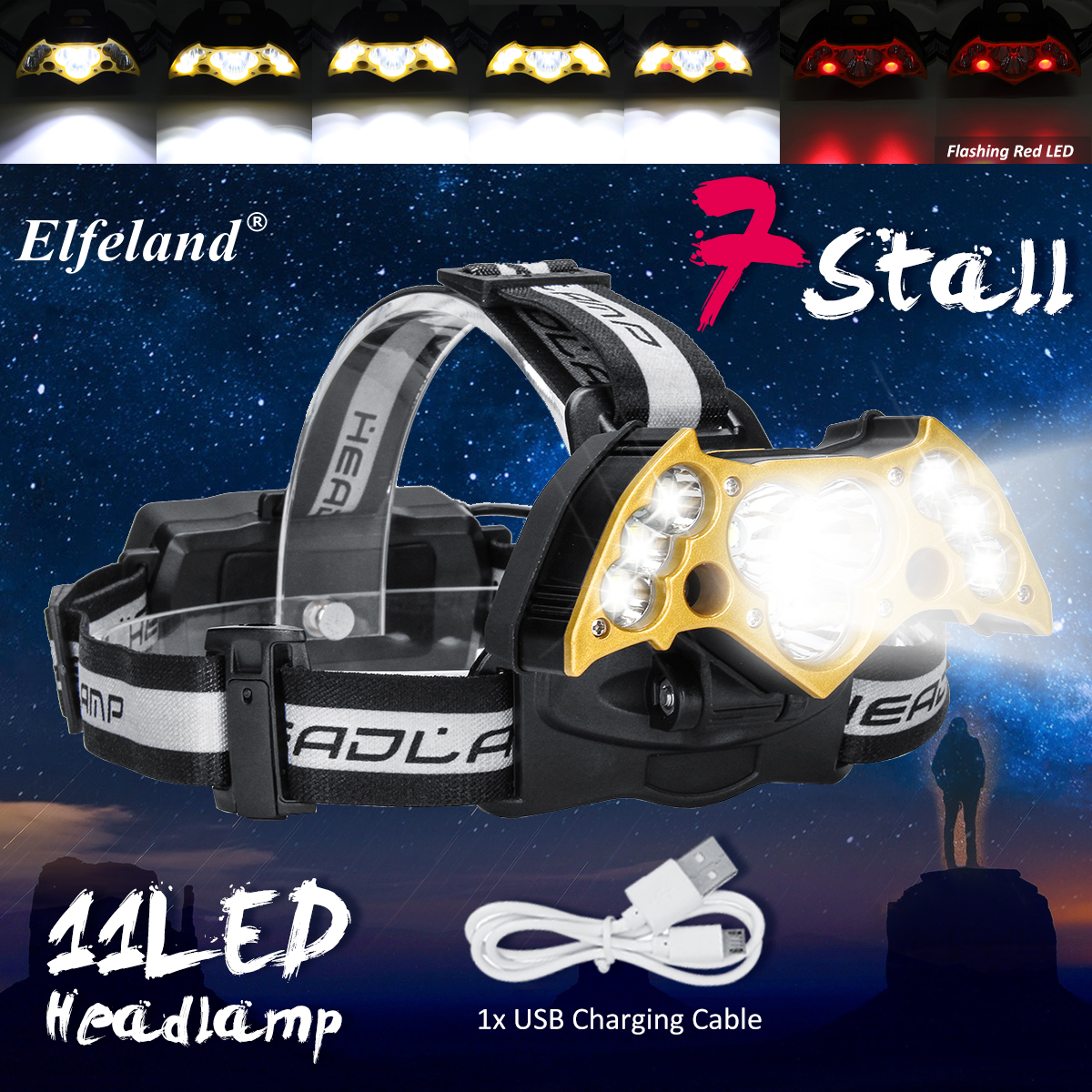 50000LM LED Headlamp 7/9/11 LED T6 Headlight Head Flashlight Torch Forehead Rechargeable COB Head Lamp Fishing Headlight 30w led cob usb rechargeable 18650 cob led headlamp headlight fishing torch flashlight