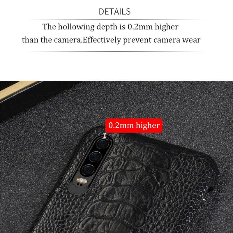 Natürliche Straußen Leder Für Huawei p30 pro high end leder telefon fall für Huawei p30 Lite p20 pro p20 herbst schutz hülse - 3