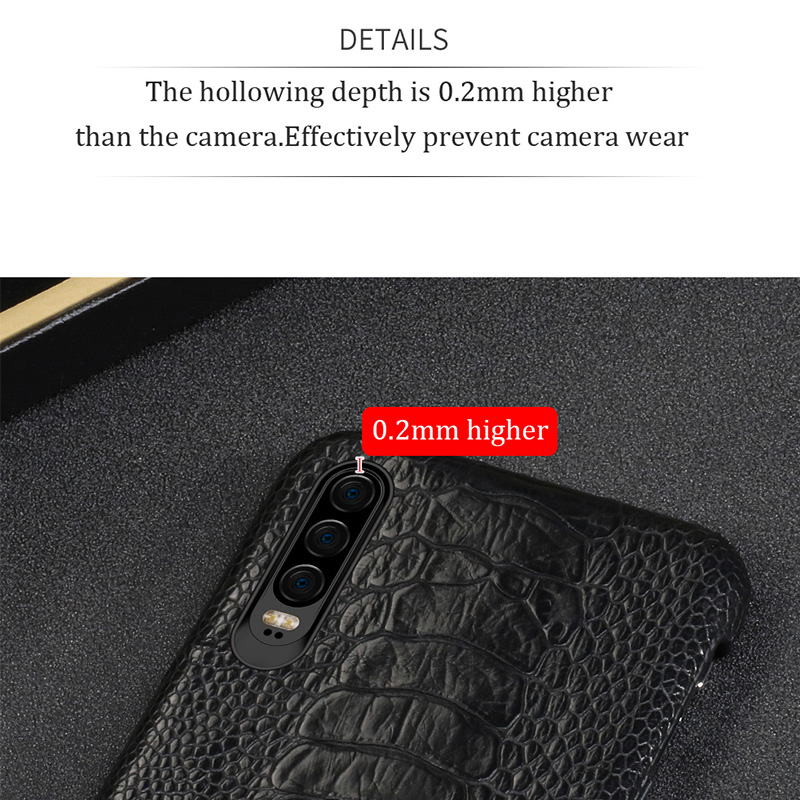Natural Ostrich Leather For Huawei p30 pro high end leather phone case for Huawei p30 Lite p20 pro p20 fall protection sleeve - 3