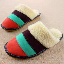 2016 Winter Plush Women Men Indoor Slippers Striped Household Pantoufle Home Shoes Leather Couple Pantufa Cotton Casual Chinelos