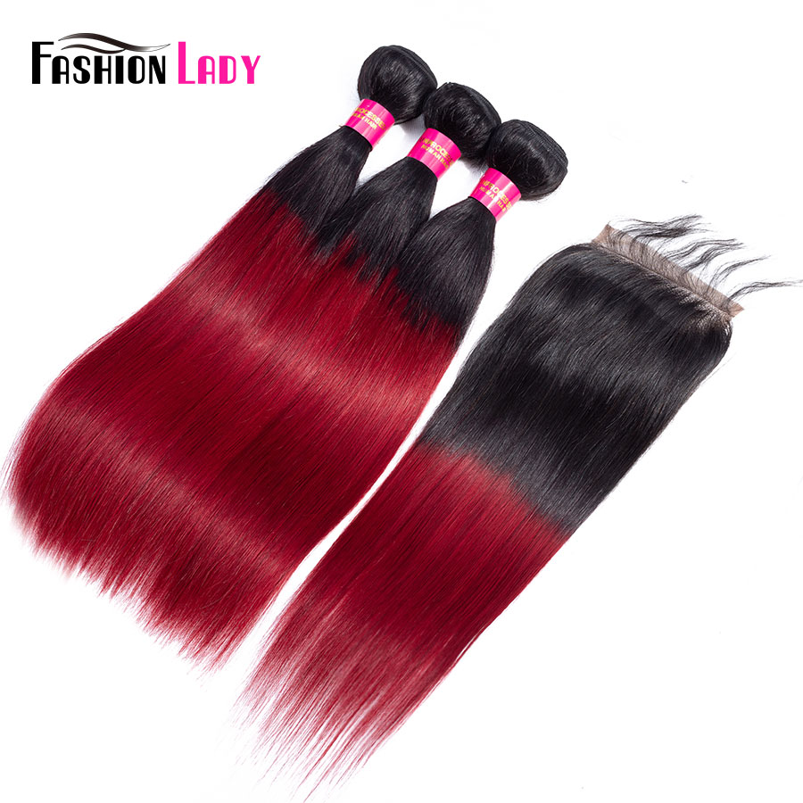 FASHION LADY Pre Colored Brazilian Hair 3 Bundles With Closure Straight 1B Burg Ombre Burgundy Bundles