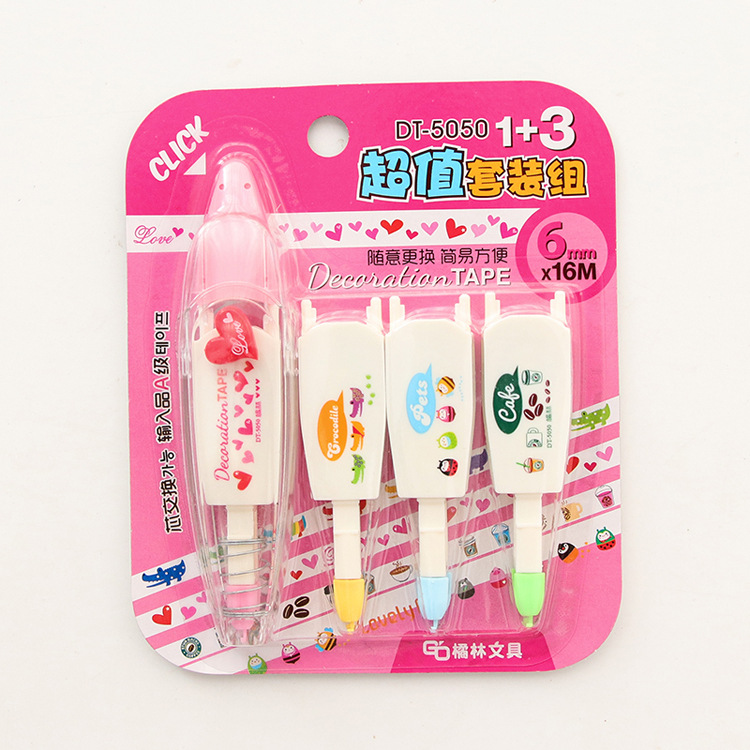 Kawaii Stationery Pressure Lace Correction Tape Set DIY Scrapboking Tape With 3 Replaceable Tape