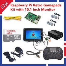 Raspberry Pi 3 Model B 32GB RetroPie Game Kit with Gamepad Joystick & 10.1 inch 1366*768 LCD Display LCD Screen Monitor