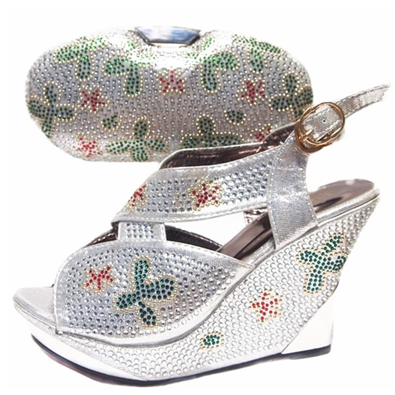 Sliver Color Italian Shoes and Bags To Match Shoes with Bag Set  Sales In Women Matching Shoes and Bag Set High Quality Shoes Bagshoe  and bagitalian shoes and bagsshoes with bags