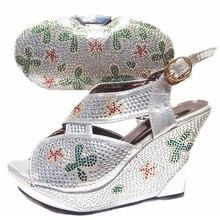 Sliver Kleur Italiaanse Schoenen En Tassen Schoenen Met Zak Set Verkoop In Vrouwen Bijpassende Schoenen En Tas Set hoge Kwaliteit Schoenen Tas
