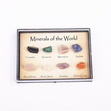 8Pcs Mixed Rough Crystal Tourmaline Natural Stone Mineral Ore Specimens Rock Collection with Box Decoration