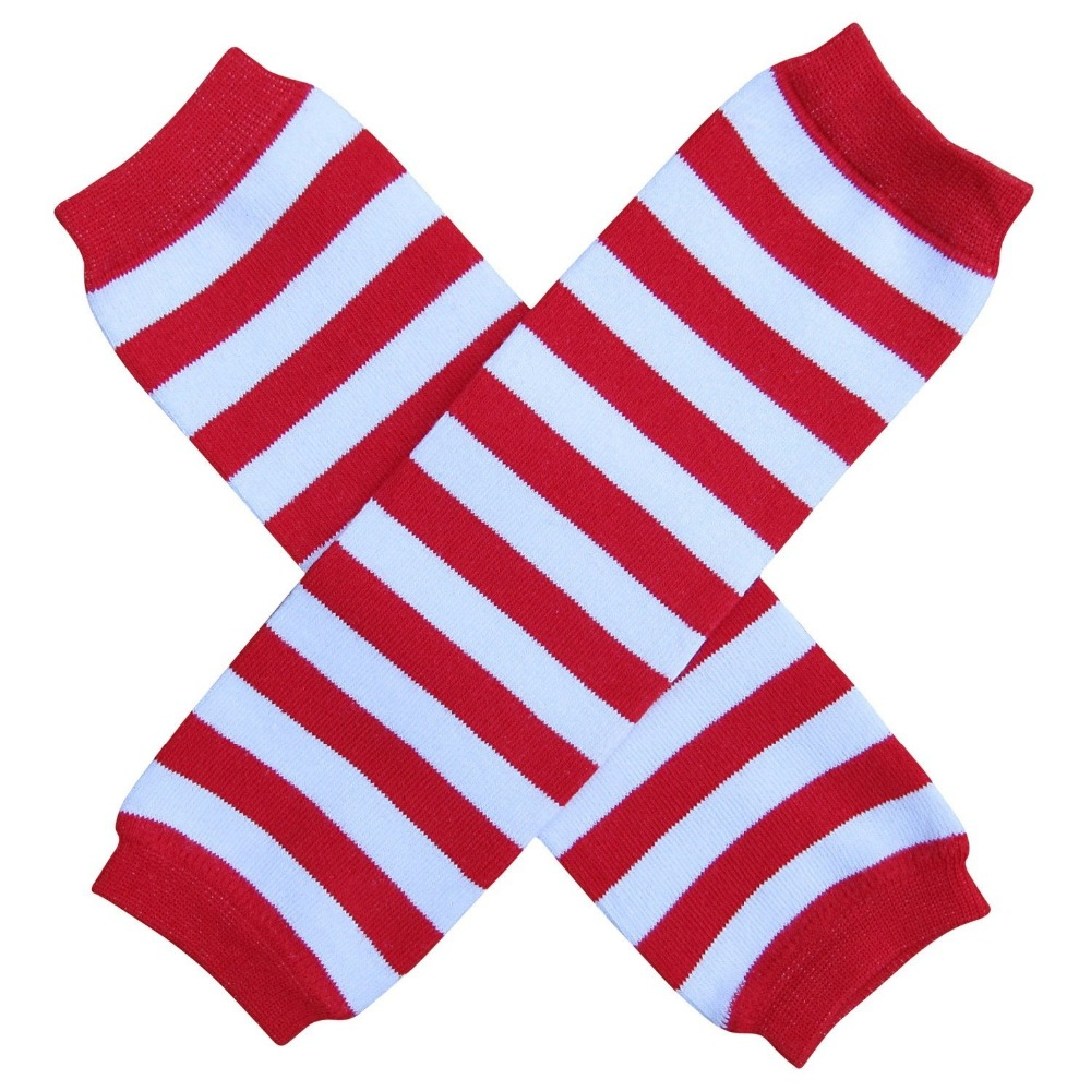 Baby Christmas Cotton Leg Warmer Red White Wided Striped