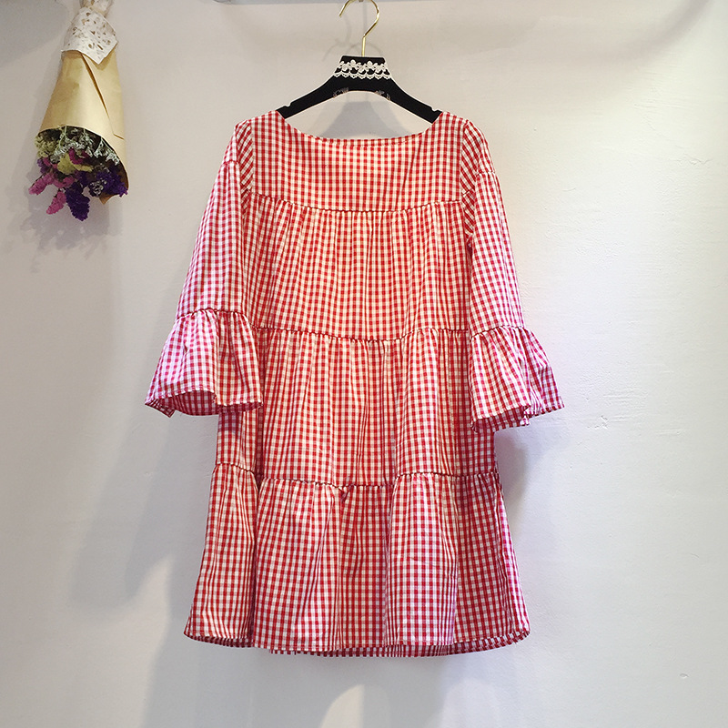 Hoffen 2017 New Arrivals Summer Checkered Dress O Neck Flare Sleeve Plaid Dresses Casual Loose Oversized