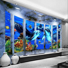 3D space ocean mother and child background wall painting professional production mural custom photo wallpaper free shipping 3d custom flooring painting wallpaper fantasy ocean wave big shark bedroom aquarium wallpaper mural
