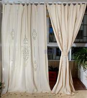 100 Cotton Linen Decorative Hollowout Embroidery Curtain Fabric Curtains For Living Room Cortinas Sheer Tulle Final