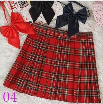Preppy stílus japán iskolás lány kockás vésett szoknya magas derék rövid tartan szoknya Saias
