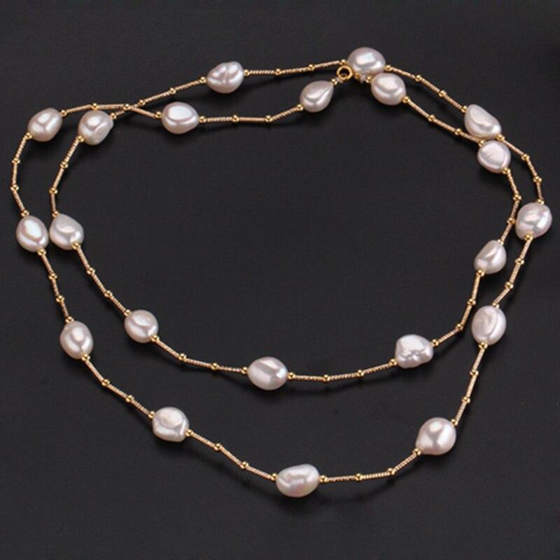RUNZHUQIYUAN 2017 100% perle d'eau douce naturelle long collier 10-11mm perle argent bijoux 90 cm longueur meilleurs cadeaux pour les femmes - 2