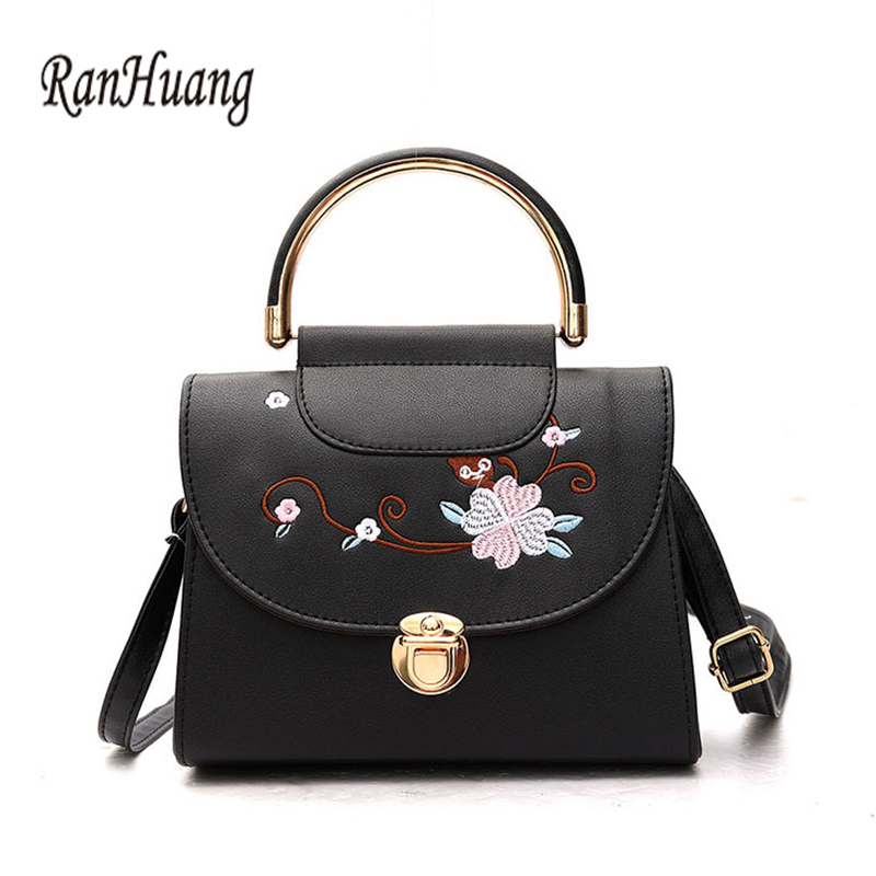 RanHuang New 2017 Women Fashion Small Handbags Embroidery Flower Shoulder Bags Women's Leather Messenger Bags bolsa feminina A10