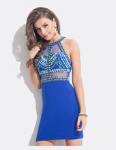 Royal Blue Short Tight Sexy Perlen Sheer Taille prom kleid Homecoming Kleider Cocktailkleider
