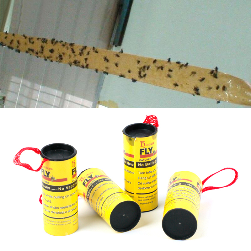 Image 2 - 4 Rolls Fly Glue Paper Pest Control Housefly Killer Insect Bug Catcher Trap Ribbon Strip Sticky Fies Summer Tools-in Traps from Home & Garden
