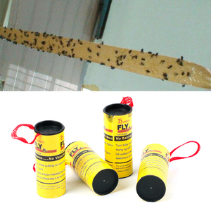 Image 2 - 4 Rolls Fly Glue Paper Pest Control Housefly Killer Insect Bug Catcher Trap Ribbon Strip Sticky Fies Summer Tools
