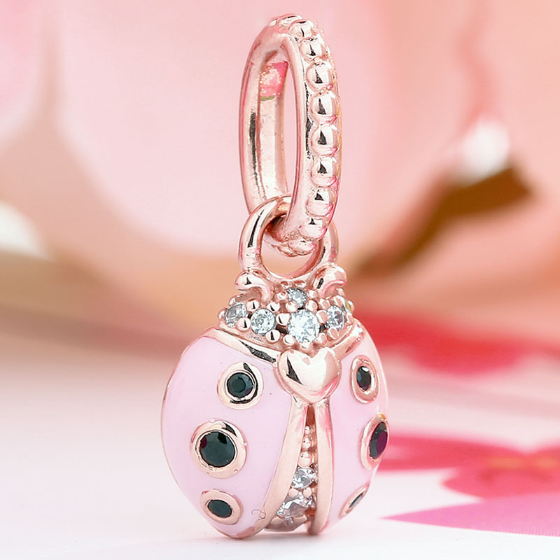 New 925 Sterling Silver Bead Charm Rose Gold Lucky Pink Ladybird Necklace Pendant Fit Pandora Bracelet Bangle Diy JewelryNew 925 Sterling Silver Bead Charm Rose Gold Lucky Pink Ladybird Necklace Pendant Fit Pandora Bracelet Bangle Diy Jewelry