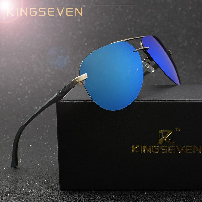 Kingseven aluminio magnesio polarizado Gafas de sol hombres conductor espejo Sol gafas Pesca gafas de mujer para los hombres