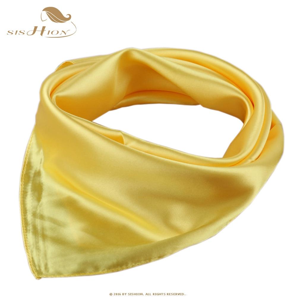 SISHION Summer Elegant 60cm*60cm echarpes foulards femme Women Scarf Yellow Office Lady Vintage Style Shawls Scarves SD0004