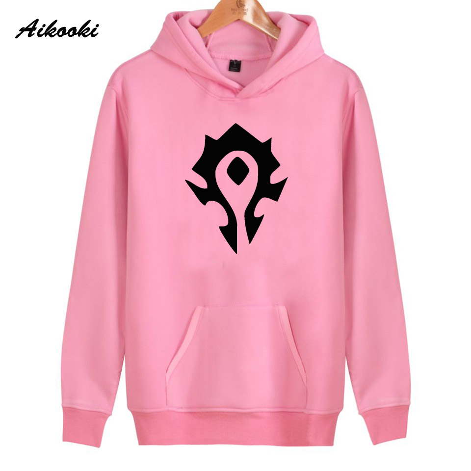 2018 Aikooki WOW ALLIANCE&Horde Hoodies men/women Black Cotton High Quality WOW Hip Hop Mens Hoodies and Sweatshirt Warm Clothe