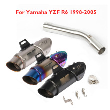 Motorcycle Slip-on YZF-R6 Exhaust System Muffler Escape and Mid Link Tube Exhaust Whole Set Pipe for Yamaha YZF R6 1998-2005