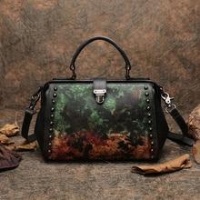 Business Handbag Women Doctor Shoulder Sling Bags Genuine Leather Messenger Handmade Retro Lady Frame Studded