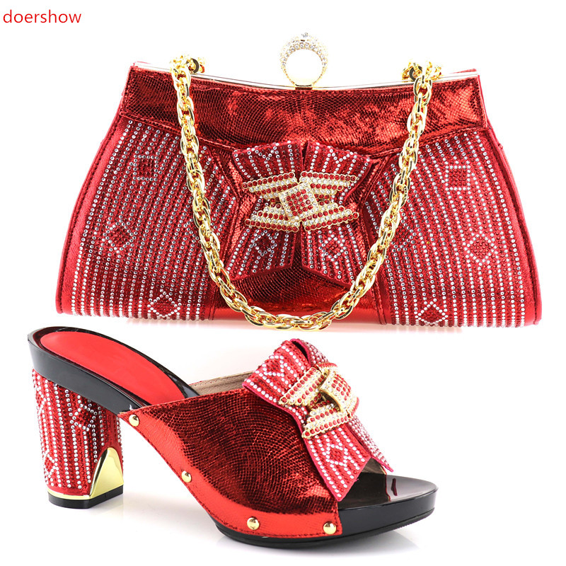 doershow italian shoes and bag set wholesale 2018 cheap wedding shoes and matching purse for women party SHV1-39 doershow wholesale african party shoes and bag lovely italian matching shoes and bag lowest price gold color size 38 42 wow38