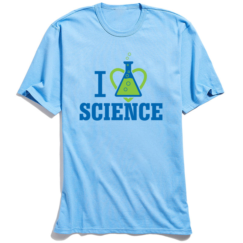 New Coming Men's Tops Tees I LOVE SCIENCE Summer T-Shirt 100% Cotton Short Sleeve Unique Tops Tees Round Neck Free Shipping I LOVE SCIENCE light