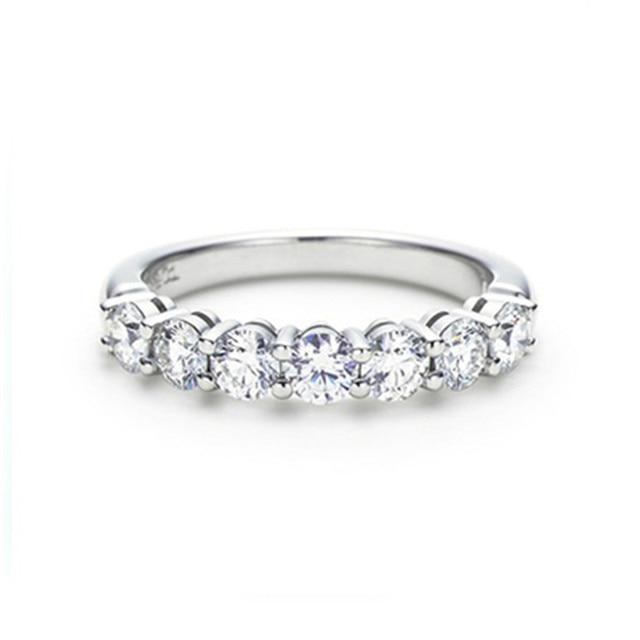 LASAMERO Classic Accents Band 0.42CTW Real Diamond Wedding Band 7 Stone 14k White Gold Wedding Ring Band
