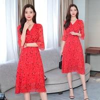 Woman's New 2019 Boho Korean Chiffon Dress Flarre Sleeve Fashion Chic Floral Dress V Neck Casual Beach High Waist Dresses