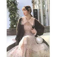 Autumn and Winter New Korean Edition First Love Temperament Point Doll Collar French Minority Dresses Female Fashion