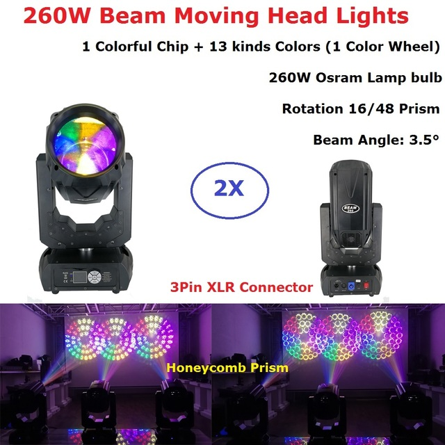 2Pcs/Lot Free Shipping 260W Moving Head Gobo Lights Beam Spot Stage Lights Professional Stage Events Lighting Shows Equipments