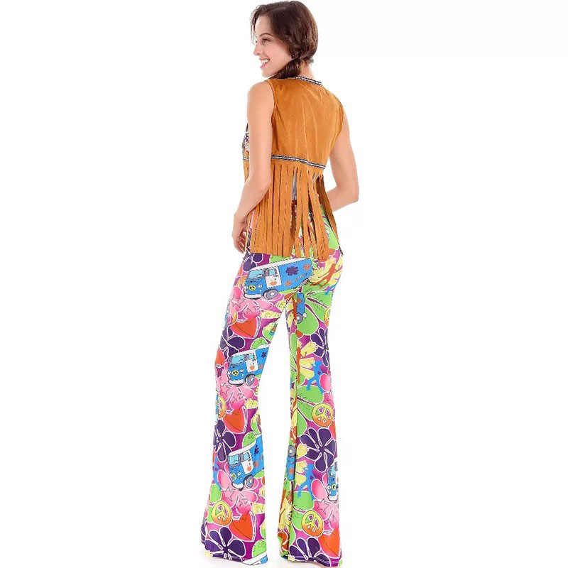 766571d54d3 ... Men Women 60s 70s Hippie Disco Costume Clothes Ladies Hippy Fringe Tops  Bell Pants Party Flare ...