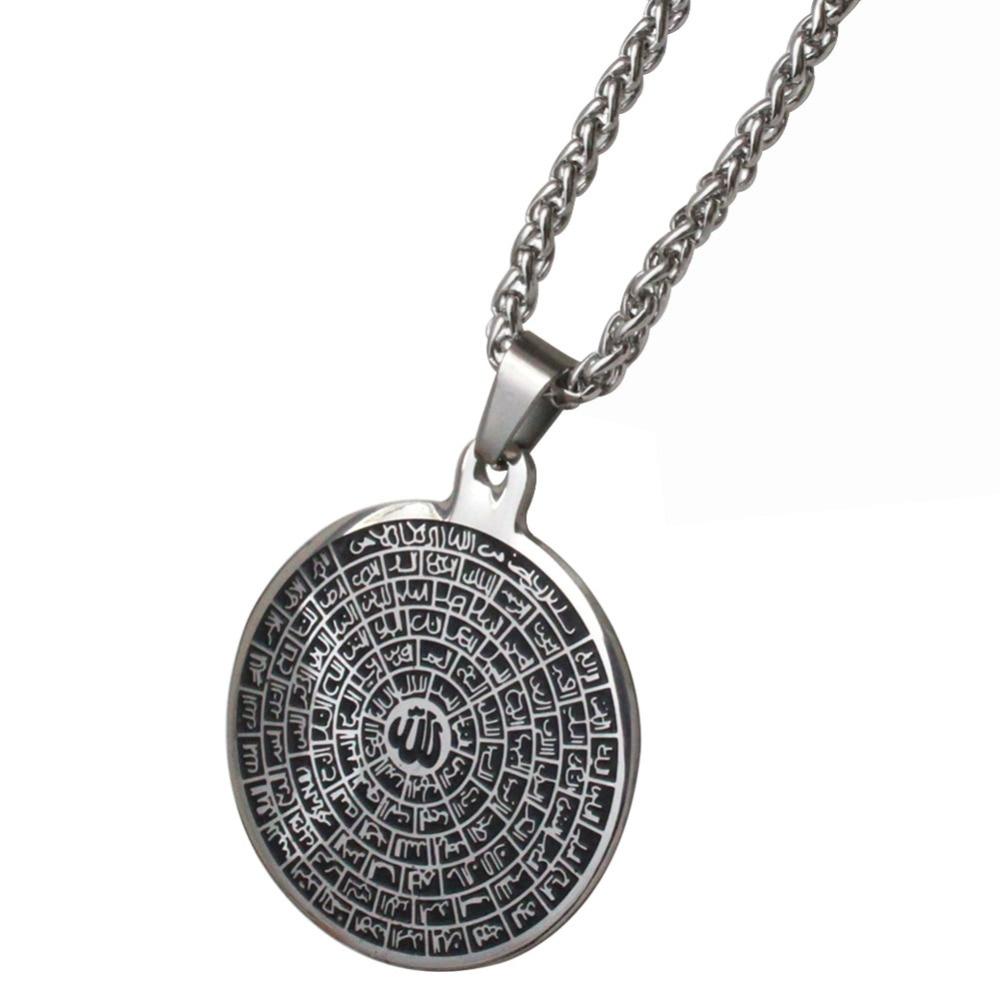 zkd Asma-ul-Husna 99 Namn på ALLAH rostfritt stål hängsmycke halsband.