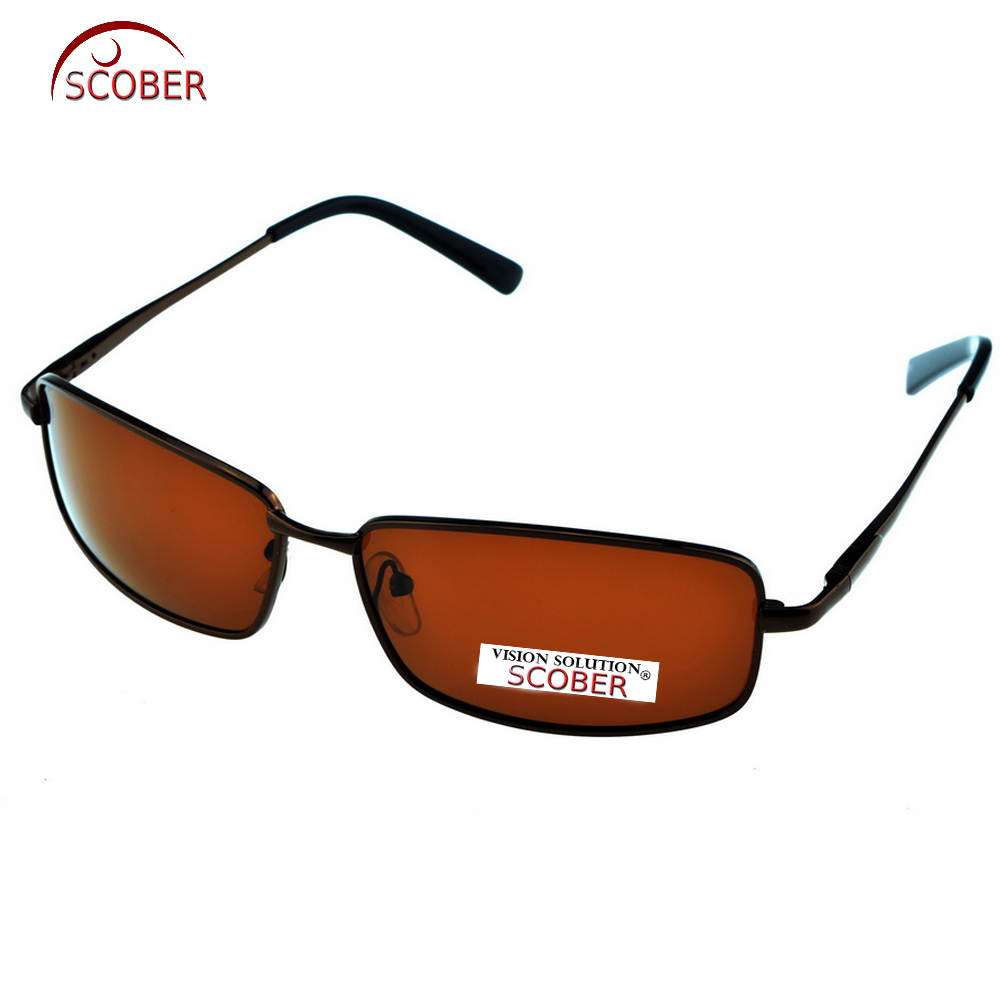 = SCOBER = Rectangular Brown Polarized Sunglasses  Polaroid Lens Eyeglasses Spring Hinge Driving Vintage Male Google Eyewear