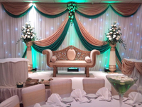 10*20feet Whole set wedding backdrop curtain top swags with middle panels and white background backdrop curtain no light