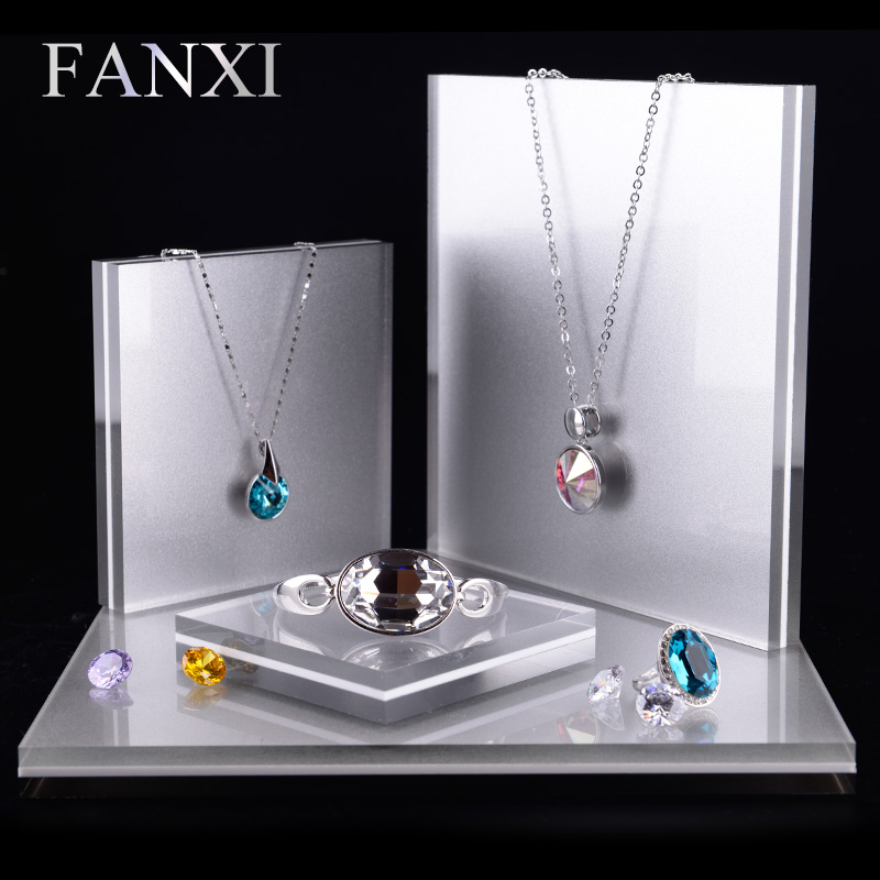 FANXI 4pcs set Acrylic Jewelry Display Stand Set for Ring Earring Necklace Bracelet Exhibitor Holder Jewelry