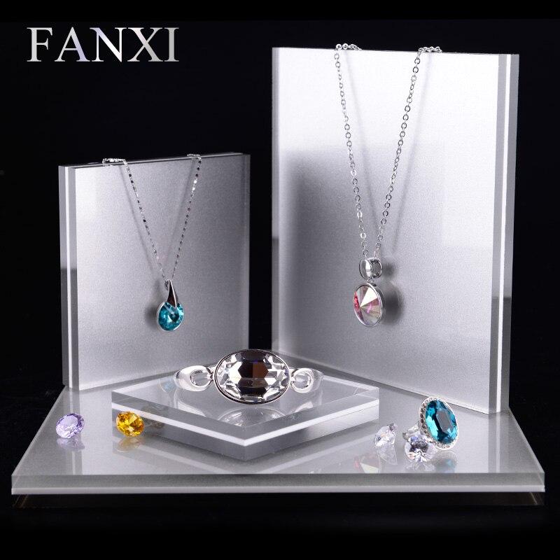 FANXI 4 pièces/ensemble acrylique bijoux présentoir ensemble pour anneau boucle d'oreille collier Bracelet exposant titulaire bijoux organisateur vitrine-in Boîtes et vitrines à bijoux from Bijoux et Accessoires    1