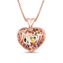 Wholesale Customized Heart Cage Necklace With Birthstones Love Necklace In Rose Gold Color For Mom