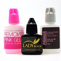 Free Shipping 10ml Black lady Glue+primer+remover set for Eyelash Extension fasting dry glue low irritation fume with Sealed Bag