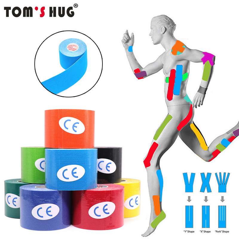 5 Size Waterproof Kinesiology Tape Athletic Tape Bandage Sports Knee Protector Recovery Strapping Gym Tennis Muscle Pain Relief